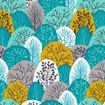 Spring Woodland in Turquoise