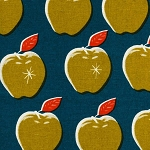 Canvas Apples in Teal & Mustard
