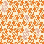 Sea Horses in Cream and Orange