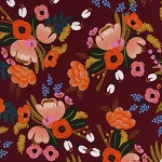 Lively Floral in Burgundy | Rayon