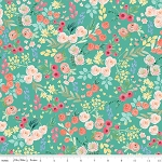 Floral Wallpaper in Teal