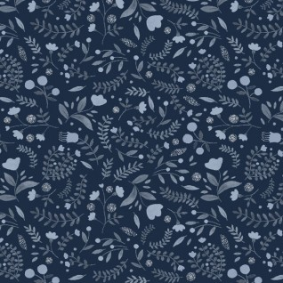 Winter Floral in Navy